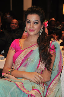 Deeksha panth new glamorous Pictures in lovely Green Designer Saree