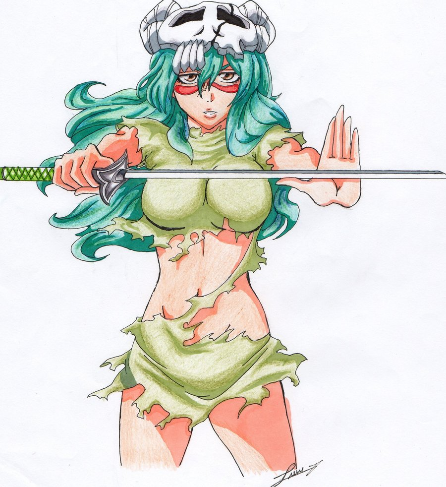 Nel holds her Zanpakutō (斬魄刀; literally, Soul-Cutter Sword) up in front of her horizontally and calls out its release command.