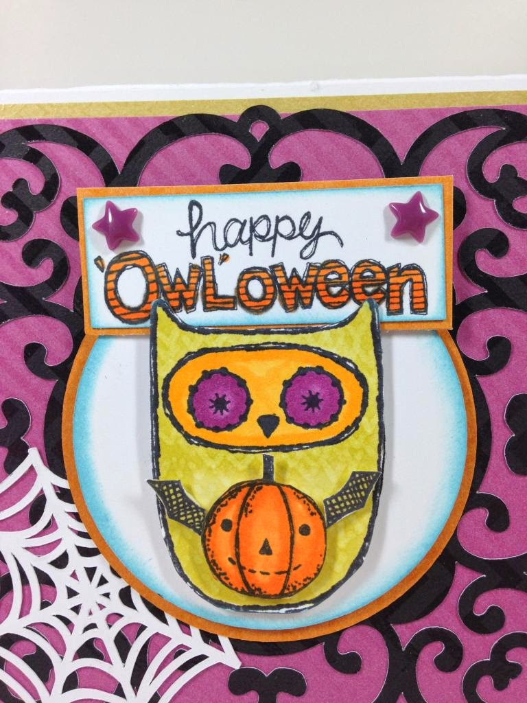 Cricut Artiste 'Owl'oween card closeup