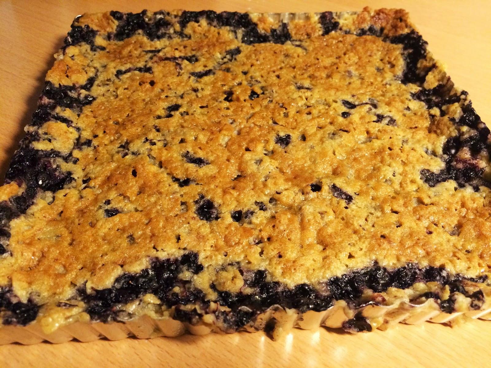 glutenfri blåbärspaj havregryn
