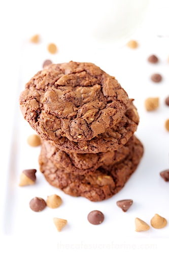 Overhead photo of a stack of Chocolate Peanut Butter Toffee Cookies.