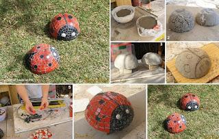 Como Hacer Adornos para el Jardin, Mariquitas de Cemento y Ceramica