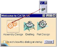 welcome menu at 3d modeling software catia