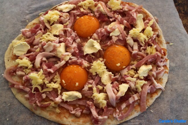Carole's Chatter: Bacon & Egg Pizza (on flatbread)