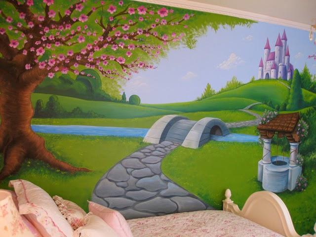 Konsep gambar lukis dinding kamar anak putri kreasi for Mural untuk kanak kanak