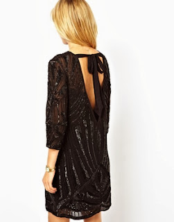 Black Sunray Embellished T-Shirt Dress Open Back
