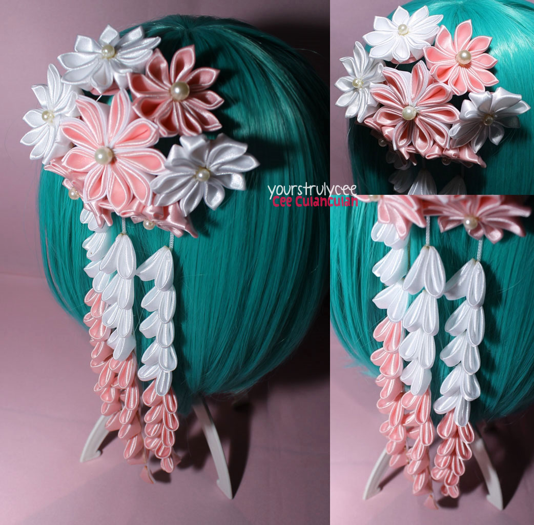 Japanese hair ornaments -  Rebecca Pink And White Dahlia Flower Bouquet With Dangling Falls
