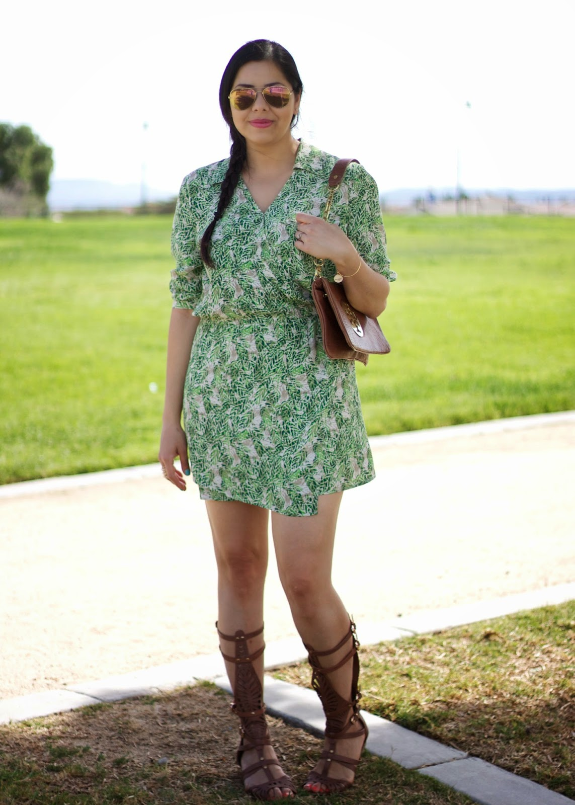 San Diego Fashion Blogger, Green Leaf Print Dress, Leaf print dress, greenery, cabi leaf print dress, how to wear a tropical dress