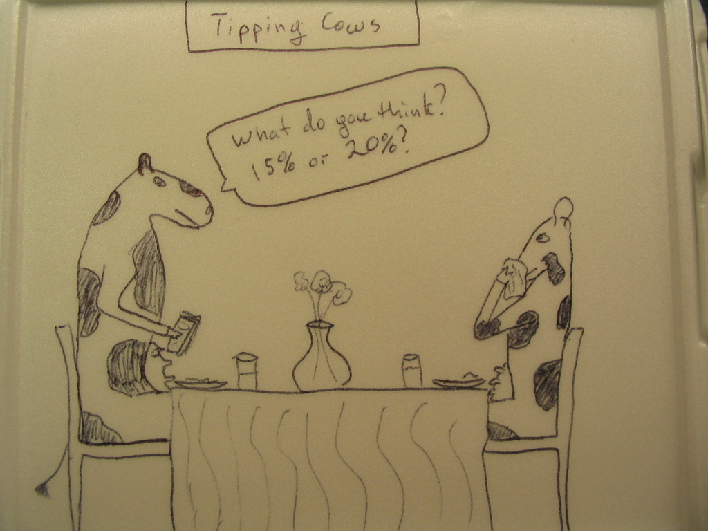 Two cows on a date in a restaurant deciding how much to tip.