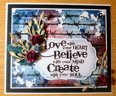 create with your soul visible image stamps barbed wire ink splats