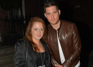 Michael Buble at the Merrion Hotel in Dublin with a fan on Sunday.