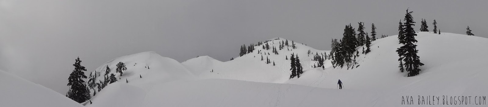 Panorama view of first pump on Mt. Seymour in North Vancouver