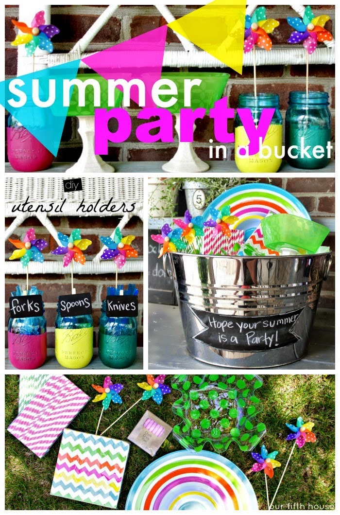 summer party in a bucket  - gift idea