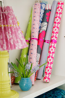 Bright Rolls of Paper and Rie Elise Larsen Lampshade