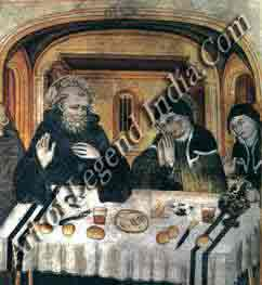 Simple fare, St Benedict and his sister St Scholastica share a simple meal offish, bread and wine. Meals in most monasteries followed a similar pattern of frugality meat was not permitted.