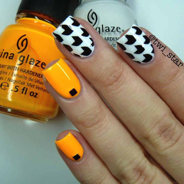 China Glaze Sun Worshiper Neon Black and White nail art