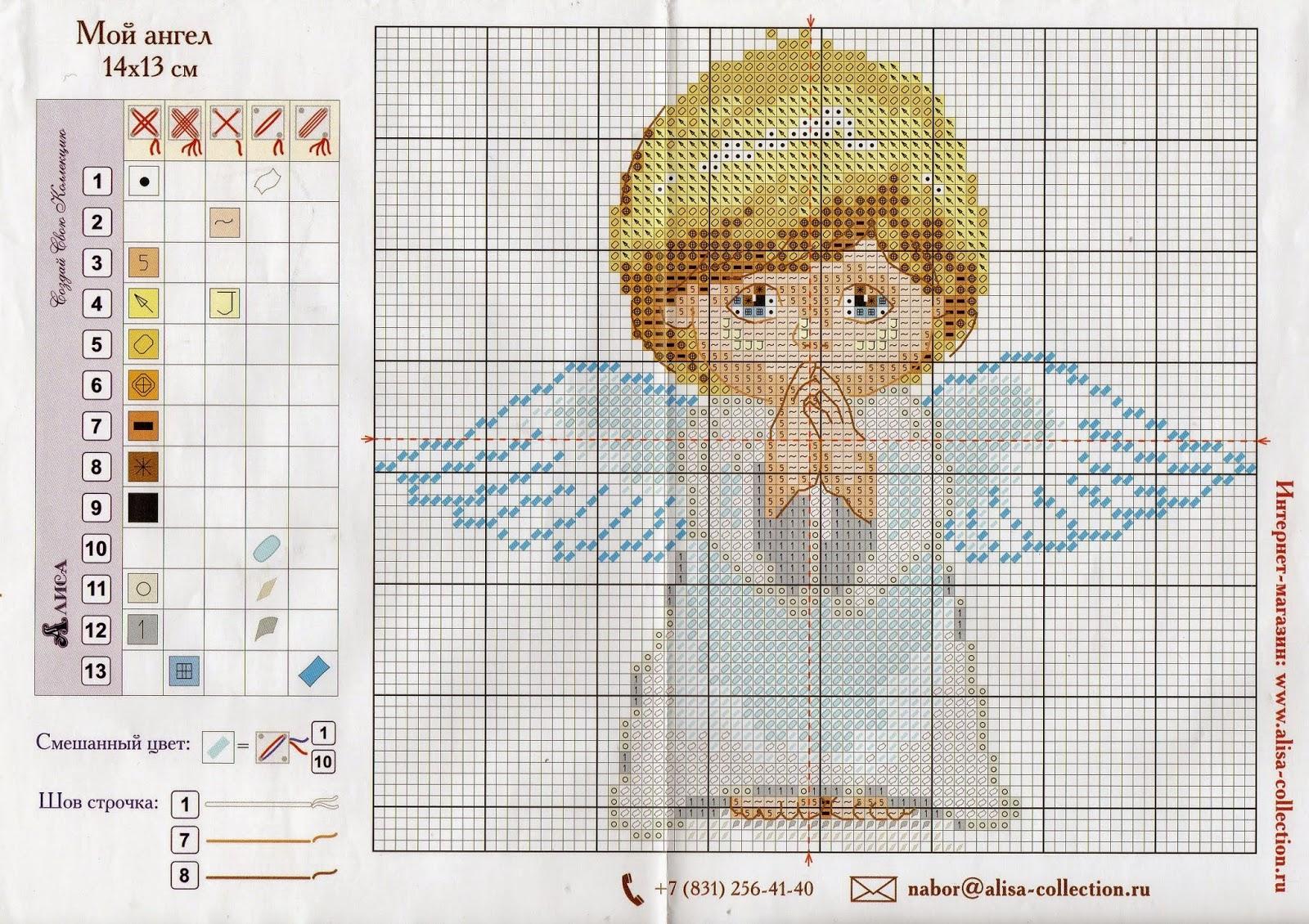 Вышивка крестом Ангел с кроликом - купить в интернет 71