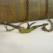 antique bird necklace