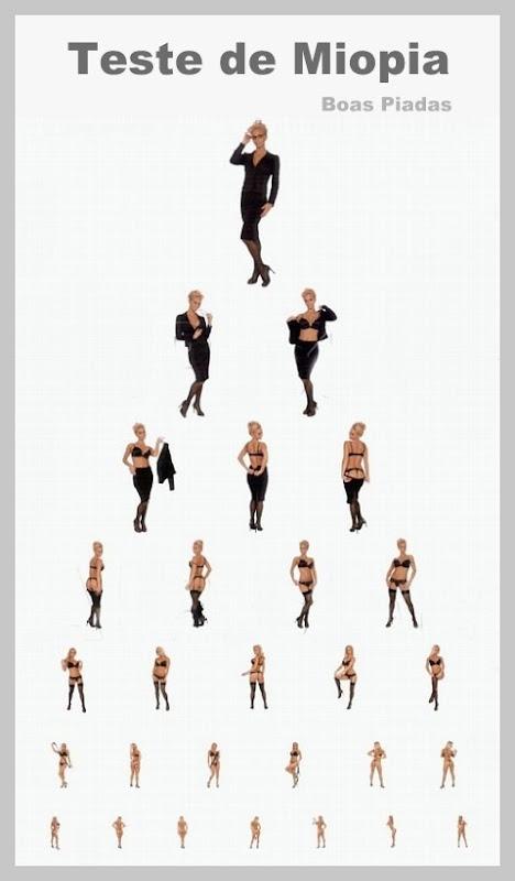Quadro em formato de teste de acuidade visual e miopia, com figuras progressivamente menores.