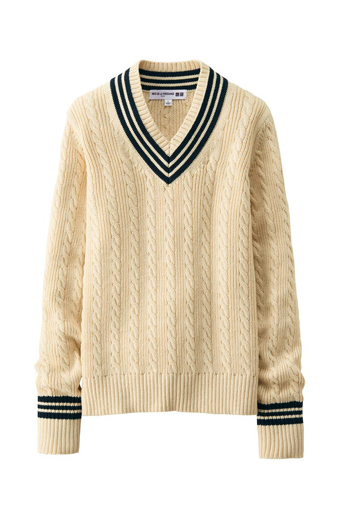 Perfect cable knit cricket sweater via www.fashionedbylove.co.uk / Ines de la Fressange + Uniqlo 2016 collection