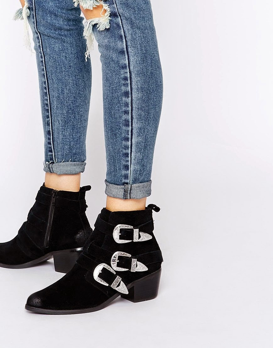asos black buckle boots