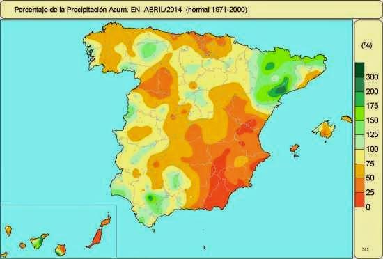 Porcentaje de precipitación acumulada respecto a la media en abril 2014.