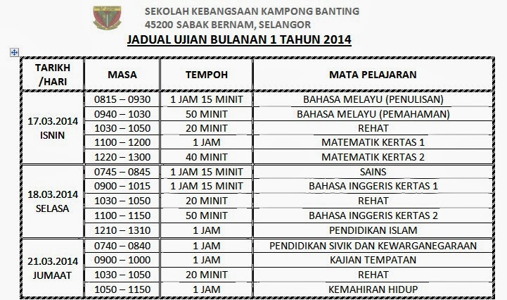 Ujian Bulanan 1 2014
