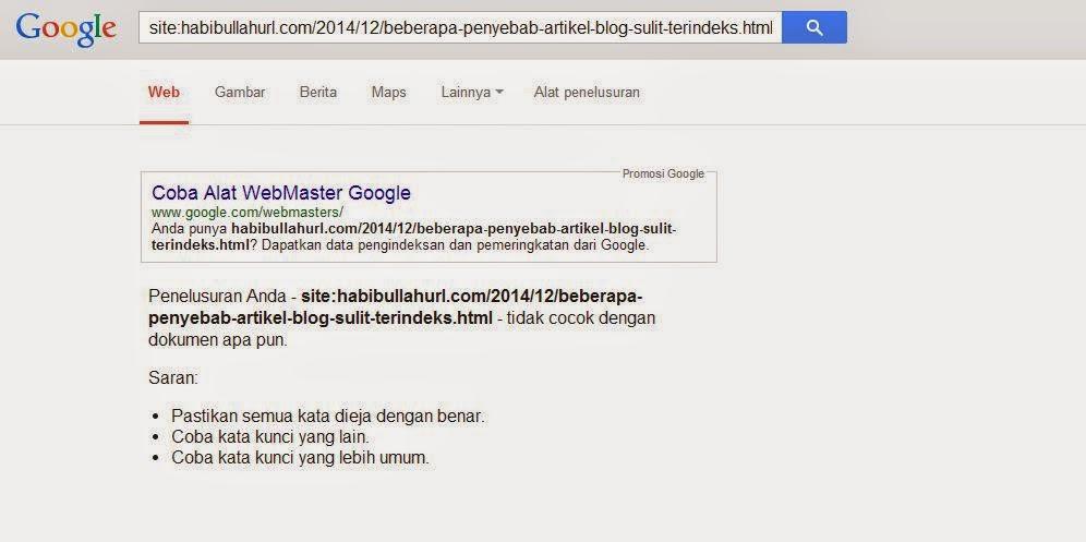 Tidak Terindeks Google