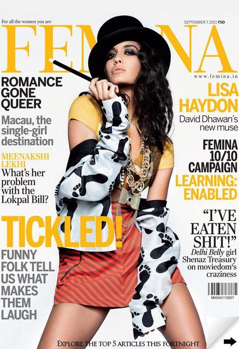Lisa Haydon - Lisa Haydon On Femina India September Magazine Cover 2011 Edition