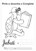 Desenho para colorir de jaboti, onde a criança pode aprender brincando. (pinte desenho complete jaboti)