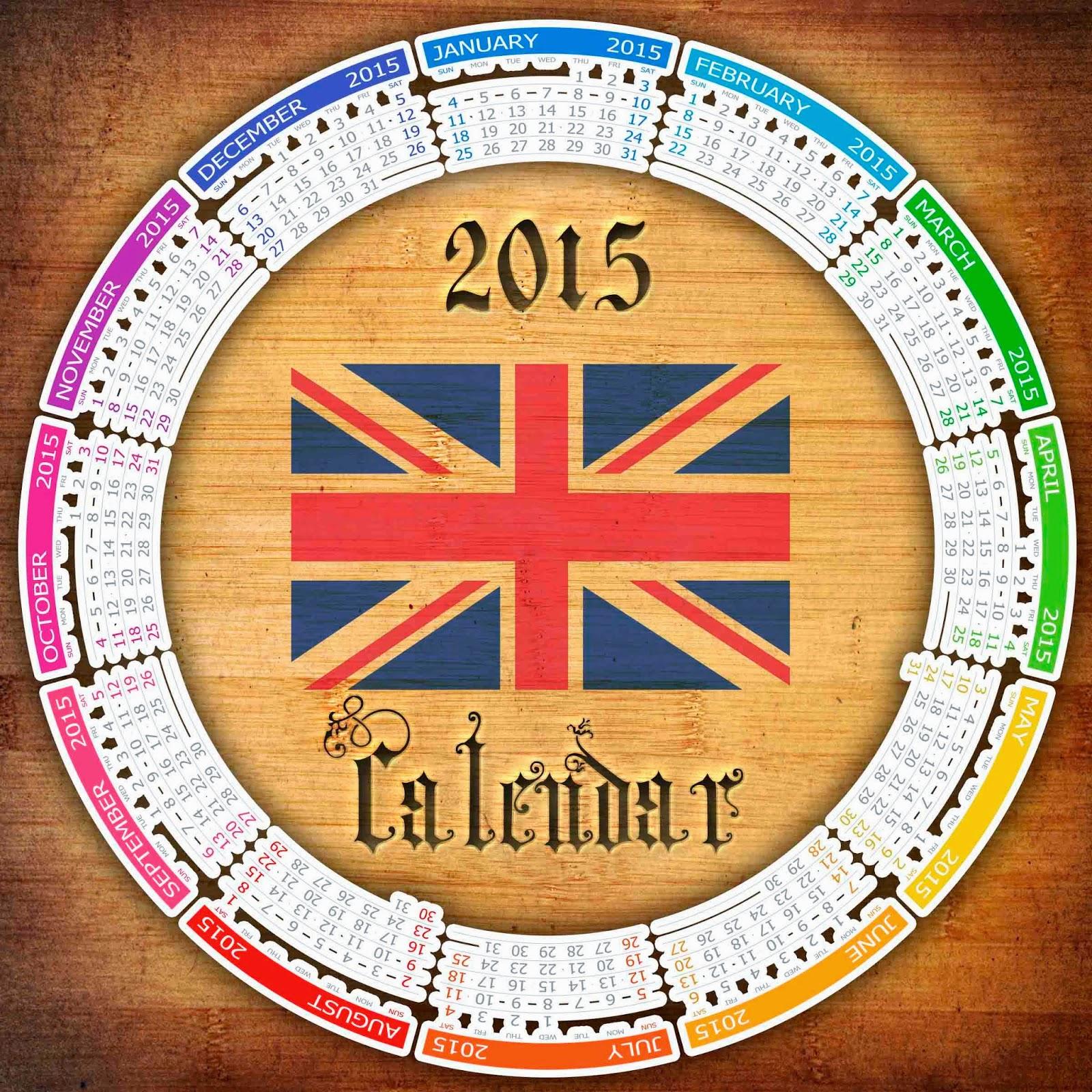 Calendario en inglés con fondo de madera y texto decorado