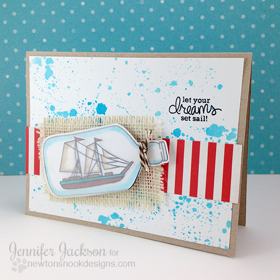 Ship in a Bottle Card by Jennifer Jackson | Message in a Bottle Stamp set by Newton's Nook Designs
