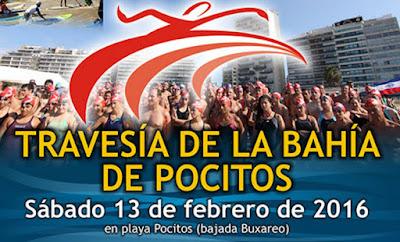 Natación - Travesía de la bahía de Pocitos del Club Banco República (CBR, 13/feb/2016)