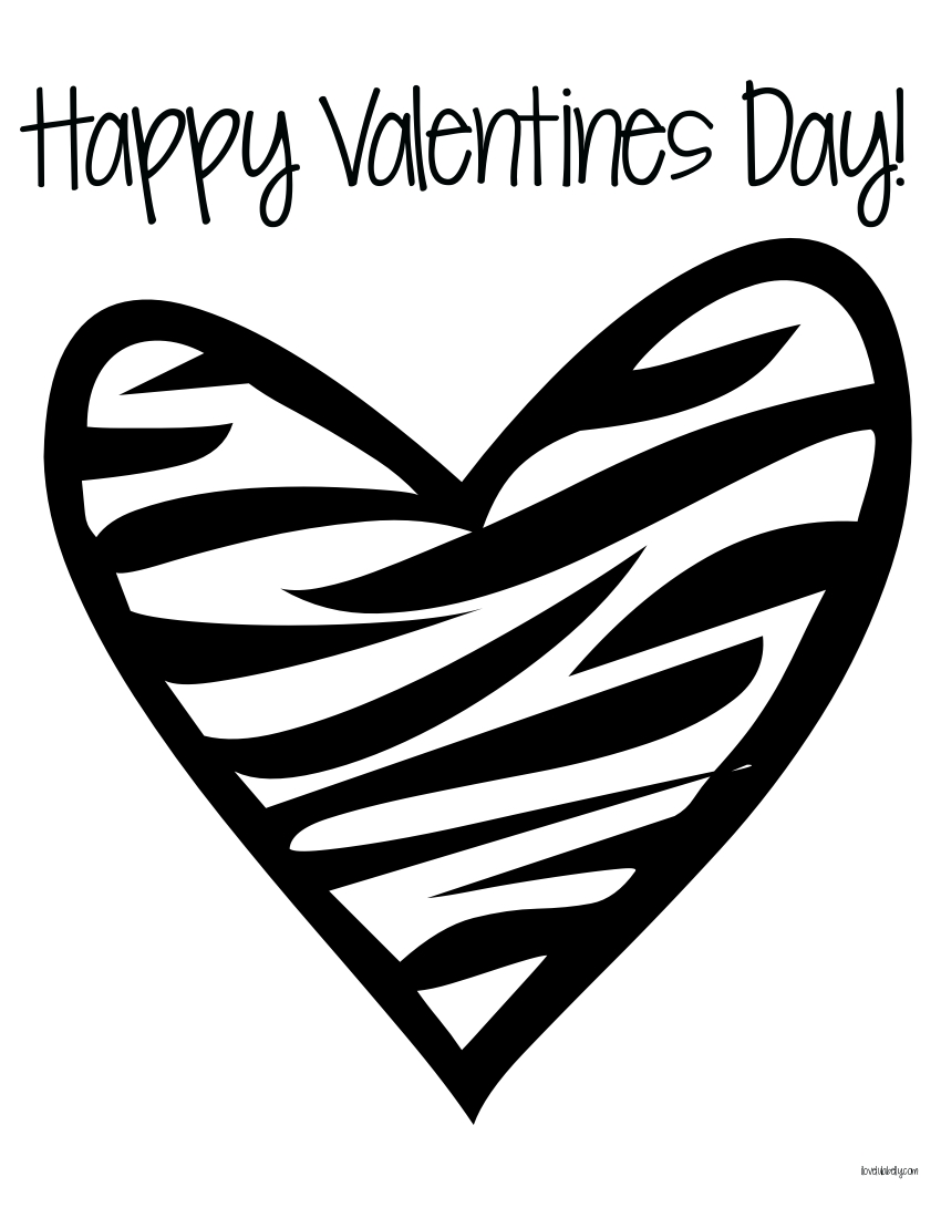 zebra print heart coloring pages - photo #8