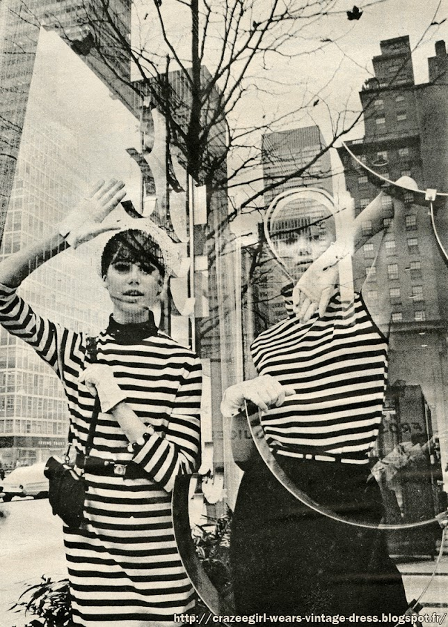 1964 fashion black white stripe striped noir blanc rayure 1960 60s New York Park Avenue mode Galeries Lafayette Printemps Luc Champagnac Peladan bijou bracelet Adrien page sac bag mod France