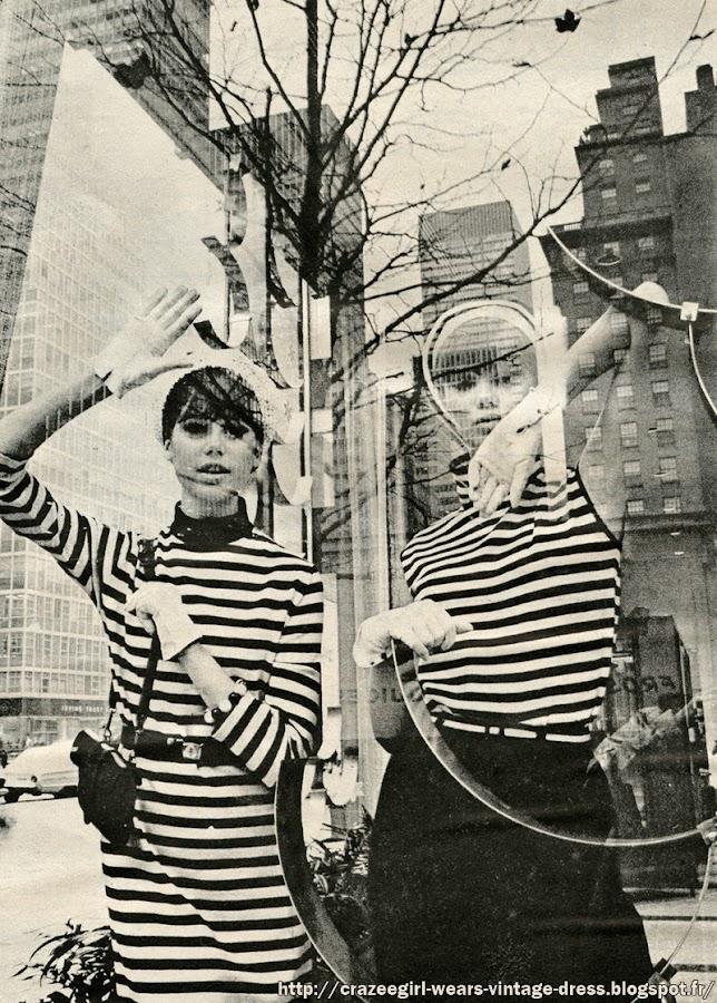 1964 fashion black white stripe striped noir blanc rayure 1960 60s New York Park Avenue mode Galeries Lafayette Printemps Luc Champagnac Peladan bijou bracelet Adrien page sac bag mod France