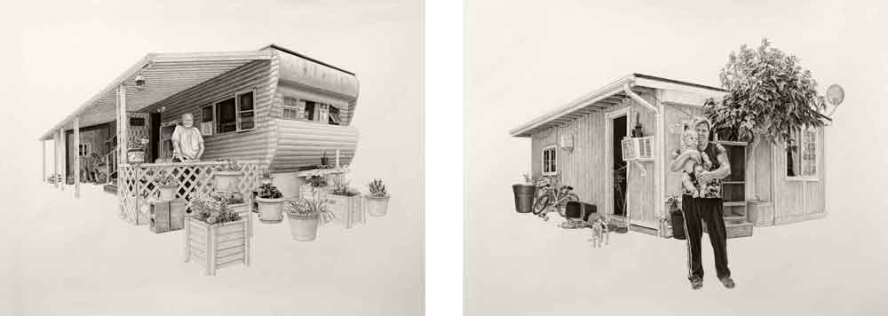 L) Melodie | 20x27in | Charcoal And Graphite On Paper (R) Allejandra |