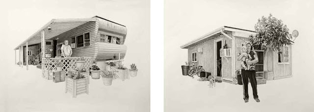 L) Melodie | 20x27in | Charcoal and Graphite on Paper (R) Allejandra | 20x26in | Charcoal and Graphite on Paper