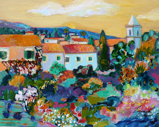 FigurativPainting of the village Biniaraix, Mallorca by the artist Amara Dacer