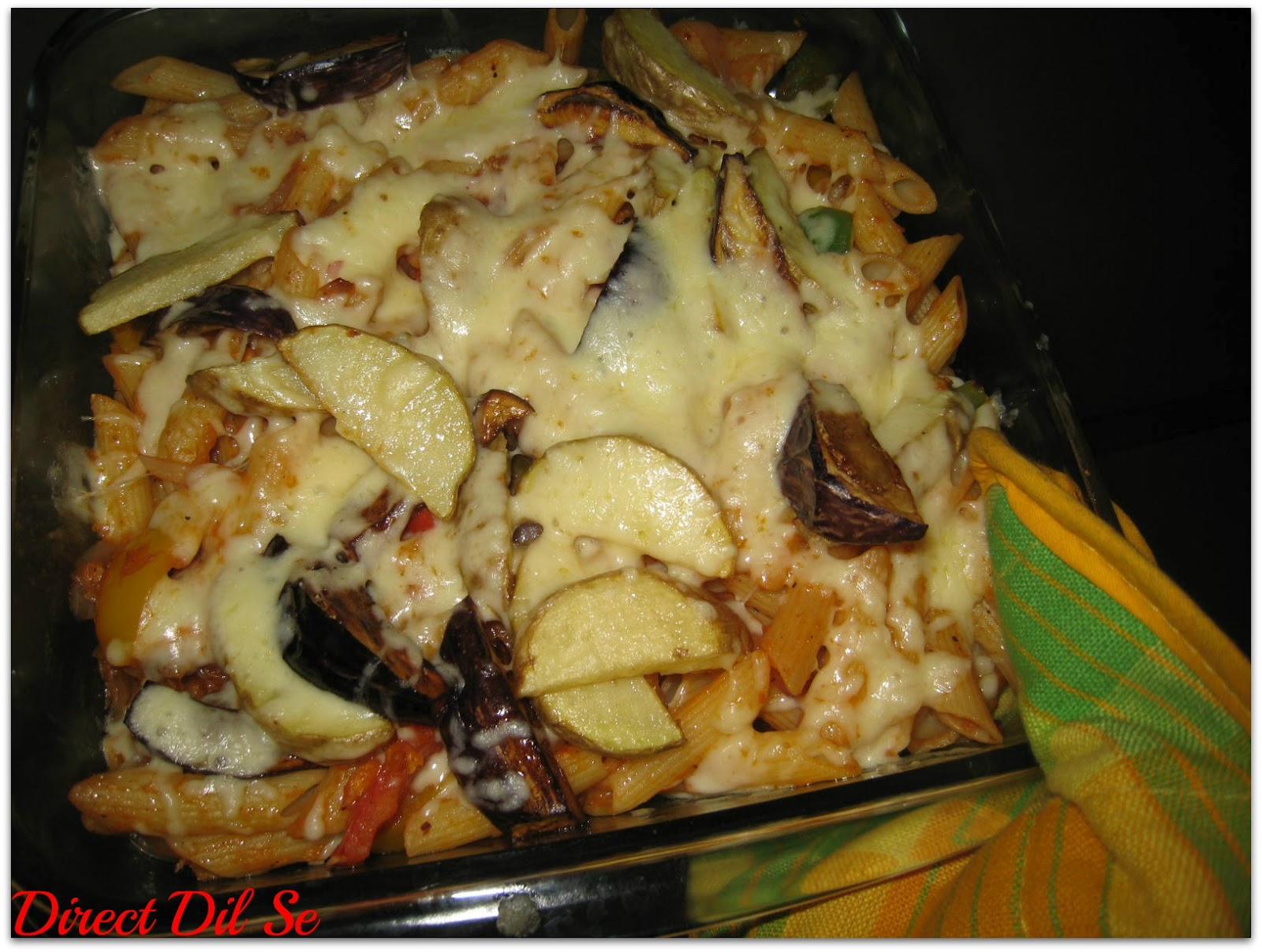 Direct Dil Se...: Baked Penne with fried Potato & Aurbugines