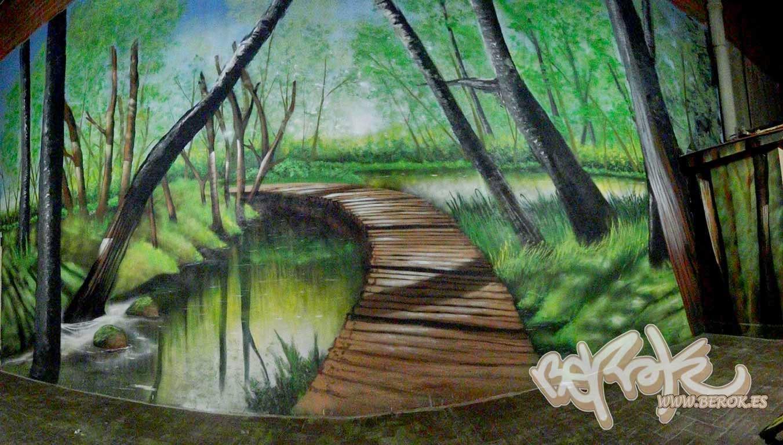 Mural bosque para escuela Córporal System de Sant Gervasi
