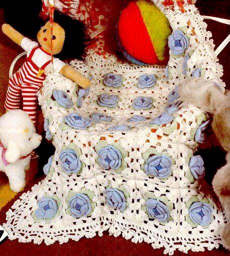 manta em croche floral para o bebê