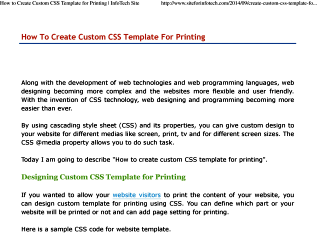 Designing Custom CSS Template for Printing