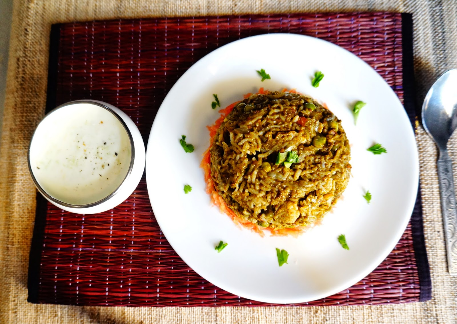 Spinach rice,spinach biryani,palak rice,Indian, healthy recipe,vegetable rice