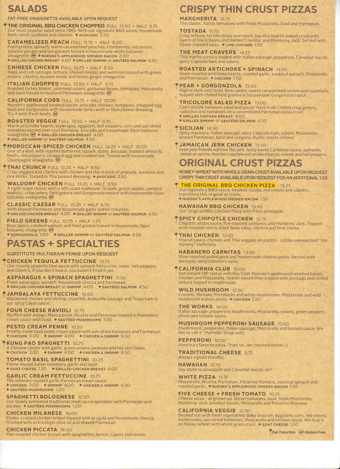 California Pizza Kitchen Menu Ventura Ca