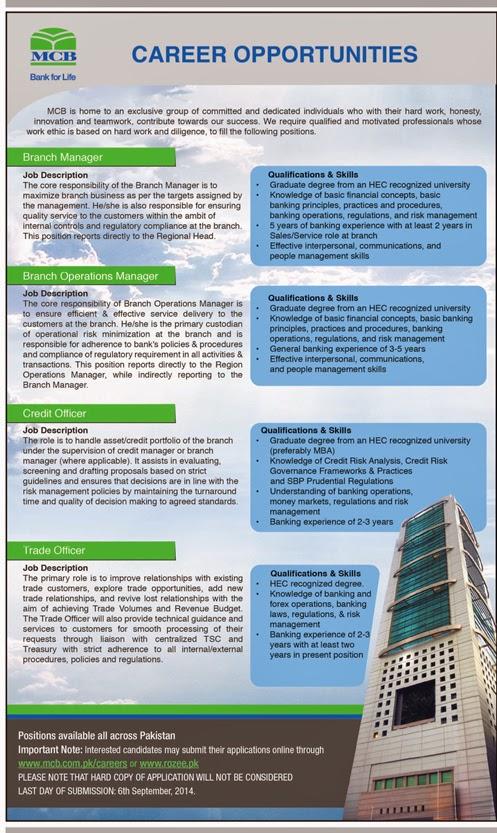 MCB Bank Jobs in Islamabad