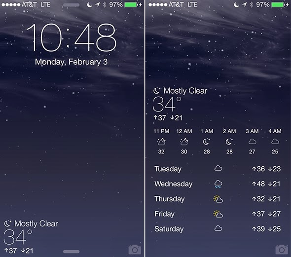 Forecast (optimized for iOS7) Cydia Jailbreak Tweak: Brings Weather App to the Lock screen of your iPhone, iPad or iPod touch. Useful tweak!
