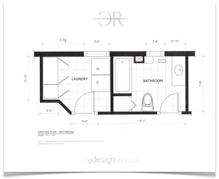 Creed e design bathroom before after plan for Narrow bathroom floor plans