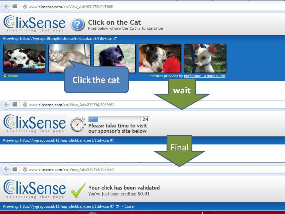Clicking instruction for Clixsense ads