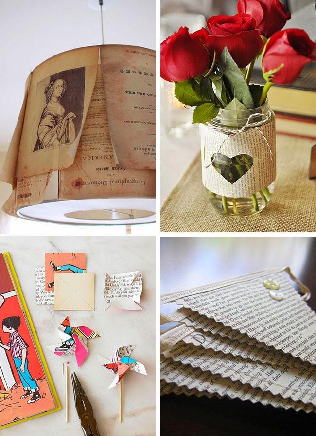 Idee DIY con pagine di vecchi libri
